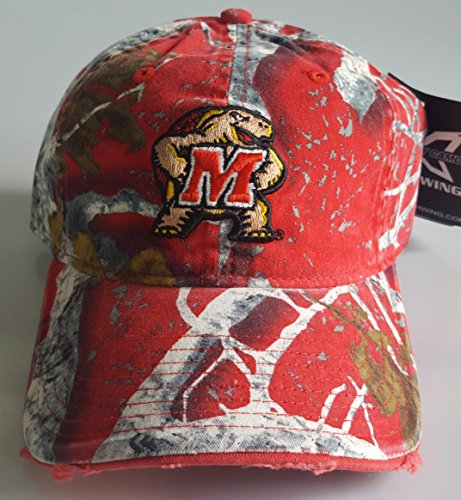 NCAA New Maryland Terps Embroidered Red Buckle Back Cap by NCAA