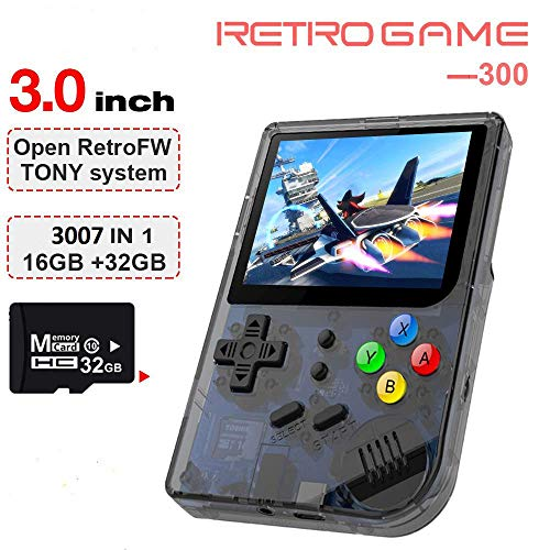 2019 Upgraded Opening Linux Tony System Handheld Game Console , Retro Game Console with 32G TF Card Built in 3007 Classic Games, Portable Video Game Console of 3 Inch Pempered Glass Screen (Black) (Best Android Gaming Console 2019)
