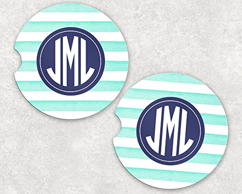 Monogrammed Car Coasters - Absorbent Sandstone - Mint Stripes (SET of 2)