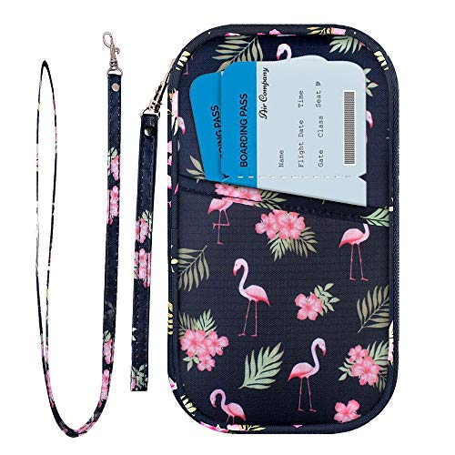 RFID Family Passport Wallet Holder Waterproof, Travel Document Organizer Credit Card Clutch Bag for Men Women (RFID Flamingo)