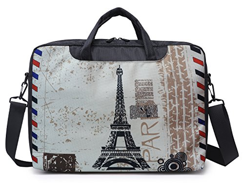 Meffort Inc 17 17.3 Inch Laptop Computer Shoulder & Hand Carrying Messenger Bag Briefcase - Paris Design