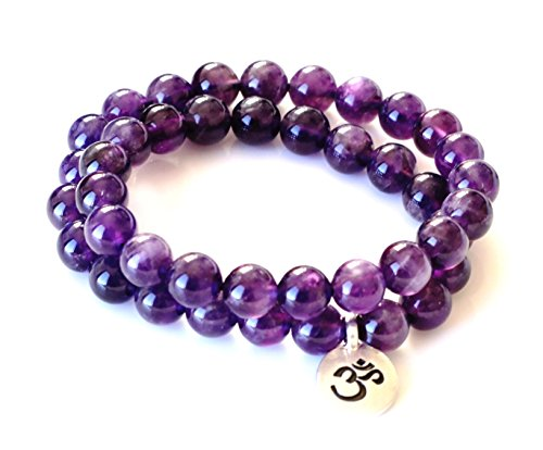 Premium Wrap Bracelet Round Amethyst - Medium Size - Double Wrap Bracelet for Women - Amethyst Bracelet - February Birthstone Jewelry ()