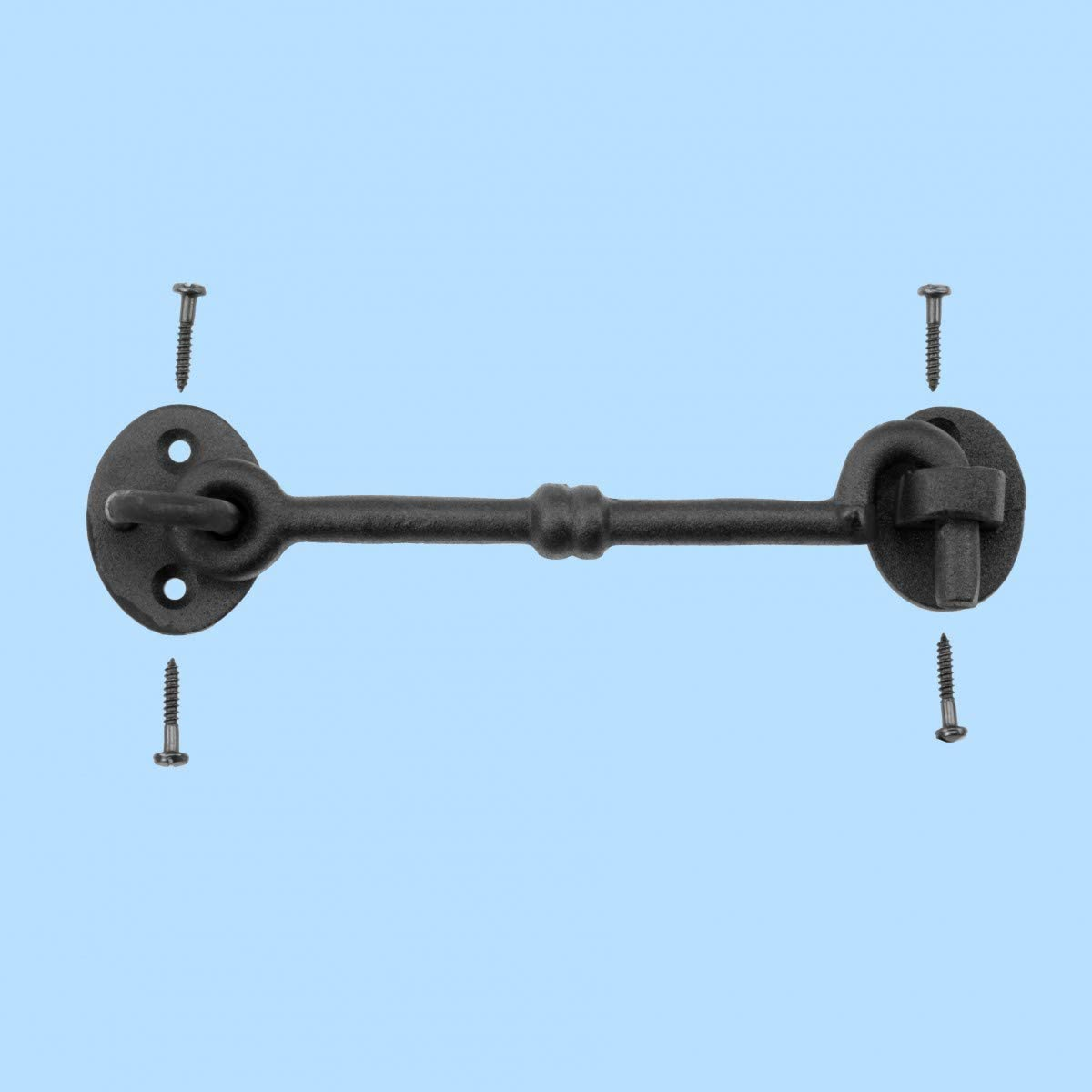 """Black Wrought Iron Cabin Hook Eye Door Latch Shed Gate Cabinet 6/"""" New Antique St"""