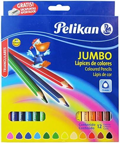 Lápices de colores triangulares JUMBO (Estuche 12 unidades) con sacapuntas: Amazon.es: Oficina y papelería