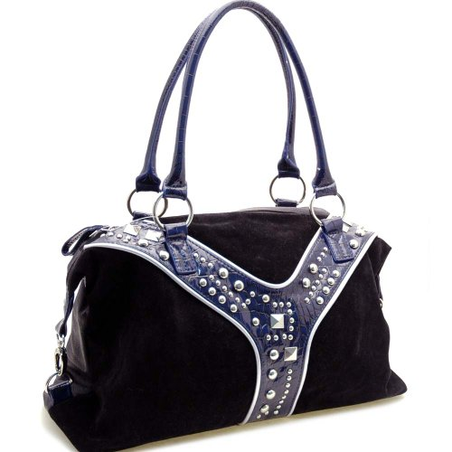 Dasein Women's Faux Suede Studs Shoulder Bag Handbag -Black, Bags Central