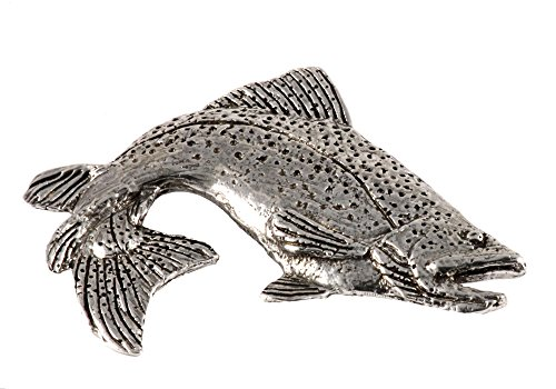 Creative Pewter Designs, Pewter Brown Trout Leaping Right, Handcrafted Freshwater Fish Lapel Pin Brooch, Antique Finish, F010PR