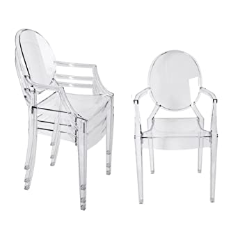 Panana 4x New Clear Ghost Transparent Chairs Modern Style Chic Starck  Dining Armchair
