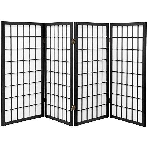 (Oriental Furniture 3 ft. Tall Window Pane Shoji Screen - Black - 4 Panels)