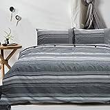 Merryfeel 100% cotton yarn dyed Duvet Cover Set - Full/Queen Gray Stripe
