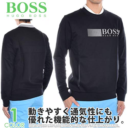 Boss Cotton Sweater - BOSS Green Men's Saltech Technical Interlock Sweatshirt, Black, Large