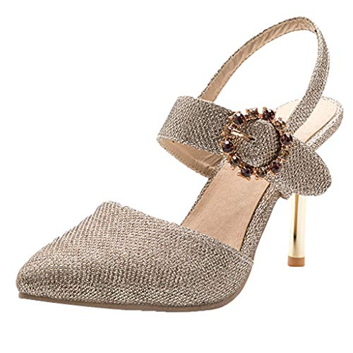 Newlyblouw High Heel Sandals 2019 New Summer Sequins Sexy Rhinestone Shoes Ladies Buckle Strap Pointed Toe Holiday Sandals Gold