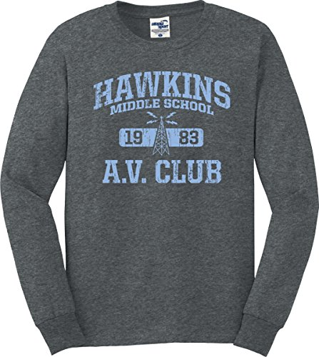 - Utopia Sport Stranger Things Inspired Hawkins A.V. Club Long Sleeve T-Shirt (S-3X) (Dark Heather, Small)