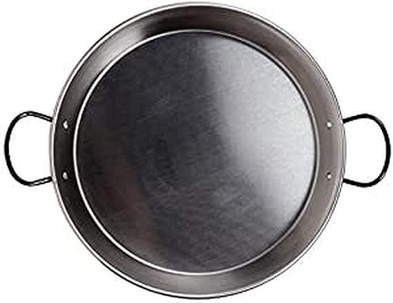 La Valenciana 32 cm Acero Pulido para Cocina de inducción Paella de cerámica con Asas, Negro, 32.0 cm