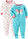Carter's Baby Girls' Toddler 2-Pack Fleece Pajamas, Ivory Heart/Mint Butterfly, 2T