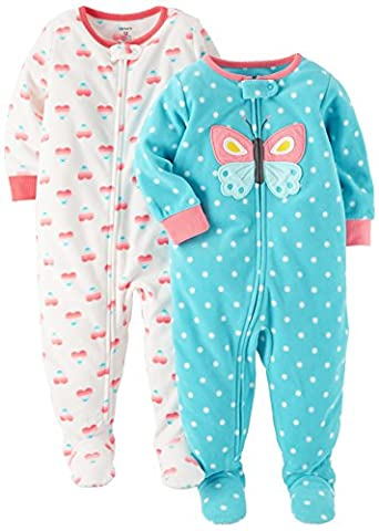 Carter's Baby Girls' 2-Pack Fleece Pajamas, Ivory Heart/Mint Butterfly, 18 Months - Infant Footed Sleepwear