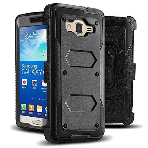 Jwest Galaxy Grand Prime / Go Prime Case Rugged Holster Dual Layer Case [Kickstand][Belt Swivel Clip] For Samsung Galaxy Grand Prime (G530 G530H G530F G530M G530T G530AZ S920C), Black
