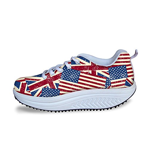 DESIGNS Shape 1 Shoes Women Flag U FOR Style for Sneakers American Swing Platfomr 65xqZY7