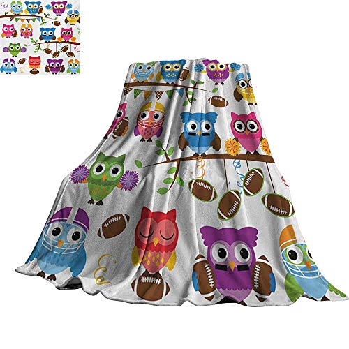 RenteriaDecor Owls,Lightweight Blanket Sporty Owls Cheerleader League Team