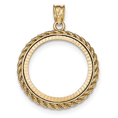 (14k Yellow Gold Casted Rope Prong 1/4p Bezel Necklace Pendant Charm Coin Holders/bezel Chinese Pa Fine Jewelry Gifts For Women For Her )