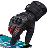 Powersport Waterproof Full Finger Women Gloves Younger Tennager Protective Passenger Gloves Winter Warm Touch Screen Gloves for Cycling Racing Skiing Mountain Street Bike Snowmobile (Black, S)