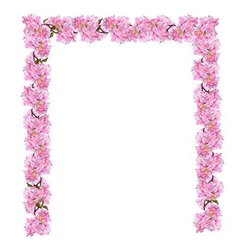 (GreenDec Artificial Silk Plants Cherry Blossom Hanging Vine Spray Arrangements Faux Garland Fake Wreath Home Garden Wedding Decor Pink)