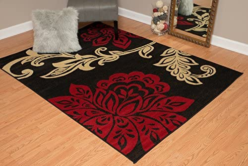 United Weavers of America Dallas Trousseau Rug – 5ft. 3in. x 7ft. 2in, Red, Polypropylene Rug with Floral Pattern, Jute Backing. Modern Indoor Rugs