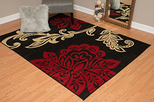 - United Weavers of America Dallas Trousseau Rug - 5ft. 3in. x 7ft. 2in, Red, Polypropylene Rug with Floral Pattern, Jute Backing. Modern Indoor Rugs