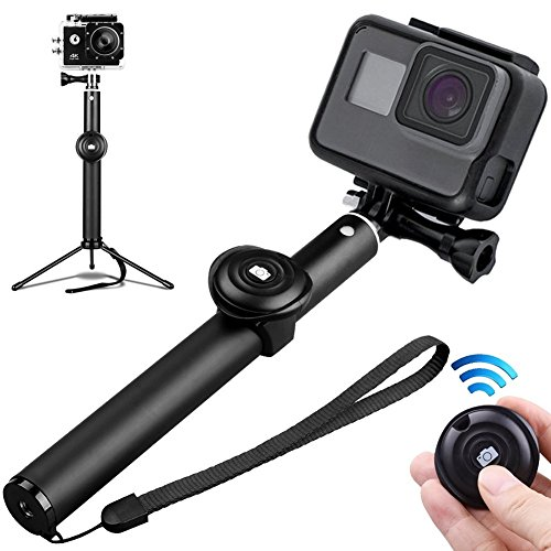 Selfie Stick Tripod Bluetooth, FXEXBLIN 3 In 1 Extendable iPhone Tripod, Tripod Stand Selfie Stick Gopro with Bluetooth Remote Aluminum Alloy 360 Rotation Phone Holder for iPhone, Android and Camera