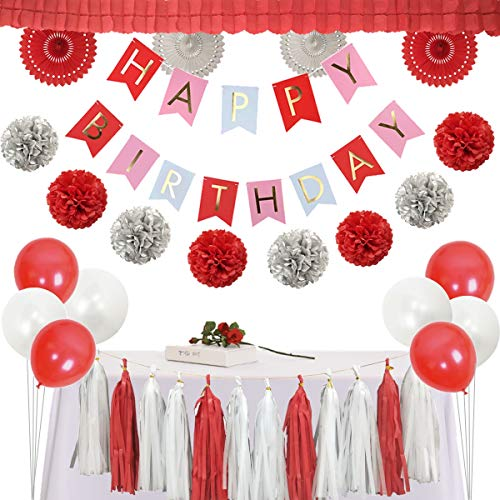 InBy Red Birthday Party Decorations Kit - Happy Birthday Banner, Tassel Garland, Paper Fans, Tissue Paper Pom Pom, Balloon, Four Leaf Clover Garland - Red, Silver, White