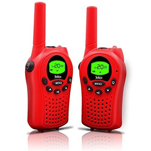 Walkie Talkies for Kids, 22 Channel Walkie Talkies 2 Way Radio 3 Miles (Up to 5Miles) FRS/GMRS Handheld Mini Walkie Talkies for Kids (Pai (Red)