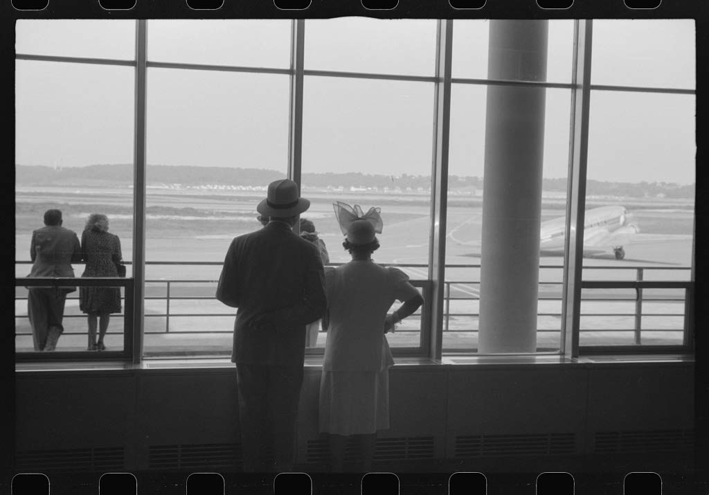 Reproduced Photo of Washington, D.C. Watching The Planes Takeoff Through The Windows of The Lobby of The Municipal Airport 1941 Delano C Jack 19a