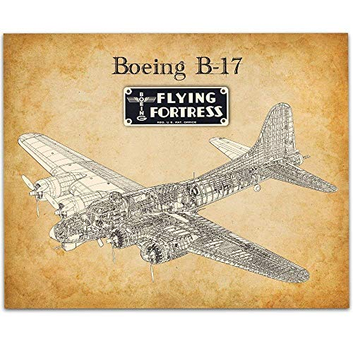 Boeing B-17 Flying Fortress - 11x14 Unframed Patent Print - Great Gift for Aviation ()