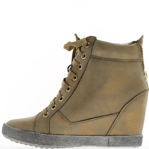 Sneakers di Cuneo nascente bronzo con strass a tacco 7cm