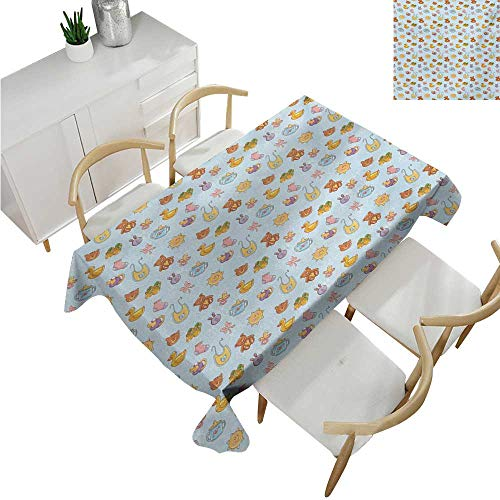 familytaste Baby,Table Cloth Printed,Newborn Sun Teddy Bear Ribbon Feeder Pacifier Chick Kitty Cat Design,Party Tablecloth Covers 70