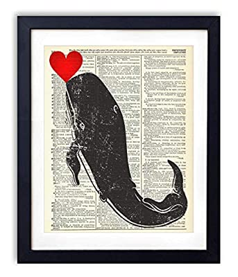 Whale With Heart - Whale Prints Wall Art Home, Bathroom & Nursery Wall Decor Upcycled Vintage Dictionary Art Print 8x10, unframed