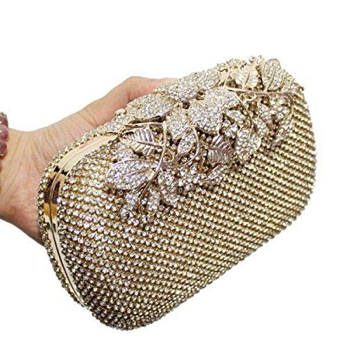 Bolso De Diamante Bolso De Noche De Diamantes De Cristal De La Flor Oval Bolso De Bolsillo De Gama Alta Bolsas De Mano Silver