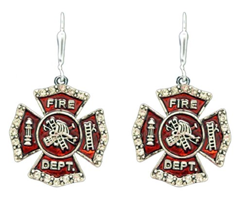 FIREFIGHTER MALTESE CROSS Earrings are Embellished with Small Crystal Rhinestones on the Edges of Red Enamel Cross.Perfect Fire Fighter Gift.