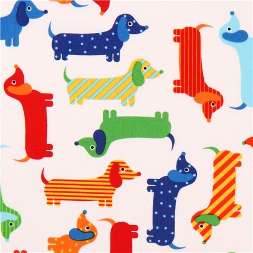white dachshund colorful dog fabric Urban Zoologie by Robert Kaufman USA (per 0.5 yard multiples)
