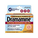 Dramamine Motion Sickness Relief Chewable Tablets | Orange Flavor | 8 Count | Prevents Nausea, Dizziness, and Vomiting