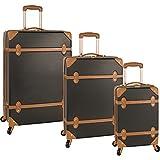 Diane Von Furstenberg Saluti 3 Piece Hardside Set, Black/Vachetta, One Size