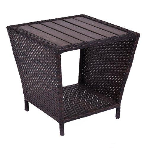 Tangkula Wicker Table Outdoor Indoor Sofa Side Table