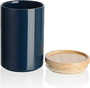 SWEEJAR Kitchen Canisters Ceramic Food Storage Jar, Stackable Containers with Airtight Seal Wooden Lid for Serving Ground Coffee, Tea, Sugar, Salt and More - 28 FL OZ (Navy)