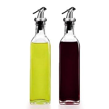 Aceite De Oliva Dispensador De Aceite Y Vinagre Del Dispensador De Vidrio Vinagrera (17OZ)-Contenedor De Aceite De Oliva (1 Paquete): Amazon.es: Hogar