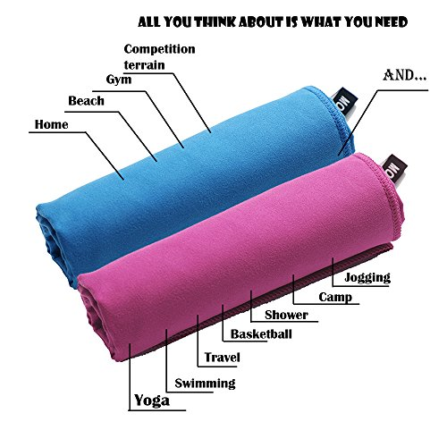 Microfiber Sports & Travel Towel Multi-Function Towel For Gym,Yoga,Swim,Climbing,American Football,Baseball,Basketball Super Absorbent Fast Drying Antibacterial 30x60 Inch Blue