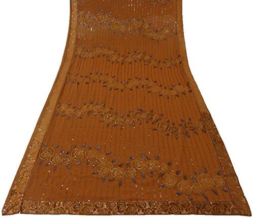 Antique Vintage Indian Saree Georgette Hand Beaded Orange Fabric Sarong Sari 5YD