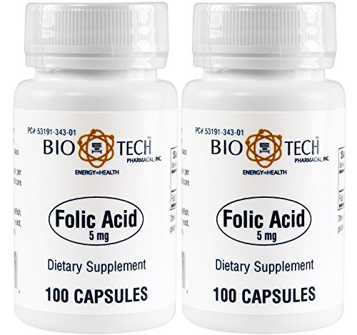 Folic Acid 5mg - BioTech Pharmacal - 100 Capsules - Pack of 2 Bottles by BioTech Pharma