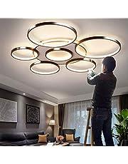 Lampa sufitowa LED, ściemniana, z pilotem zdalnego sterowania, duża, do salonu, nowoczesna barwa światła i jasność, regulowana, do sypialni, jadalni, kuchenna, metalowa rama, lampa wisząca, 7 głowic