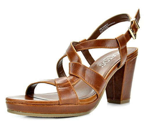 TOETOS DIANE-01 New Women's Cross Strap Open Toes Mid Chunky Heels Platform Dress Sandals TAN Size 5.5
