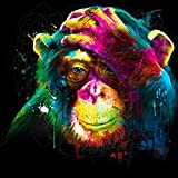 DIY Diamond Painting by Number Kit -Full Square Drill Arts Crafts Embroidery Rhinestone Home Wall Decor Colored Gorilla 12 × 12 inches