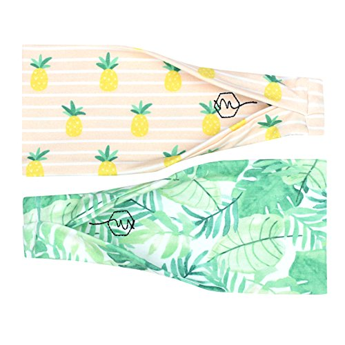 Maven Thread Women's Headband Yoga Running Exercise Sports Workout Athletic Gym Wide Sweat Wicking Stretchy No Slip 2 Pack Set Leaves Pineapple Tropical Tropics by Maven Thread (Image #9)